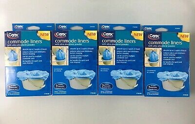 Carex Commode Liners with Ultra Absorbent Powder 7 ea (Pack of 4)