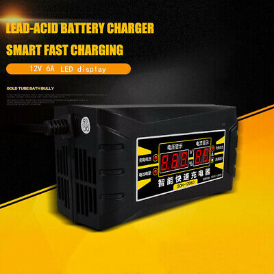 12V 6A Car Motorcycle Smart Battery Charger Battery Maintainer with LCD Display