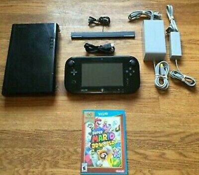 Nintendo Wii U Console 32GB Black System w/All Cords & Cables WUP-101 + Mario 3D