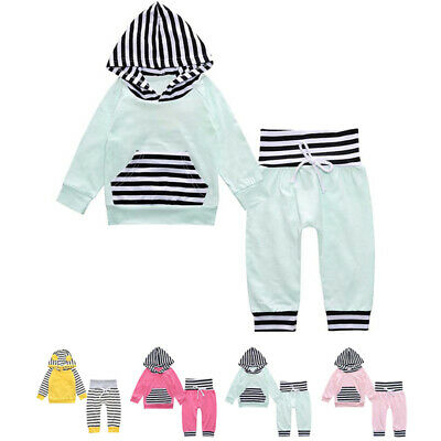 Children Toddlers Boys Girls Casual Stripes Tracksuit Hoodie Tops Pants Set Cute