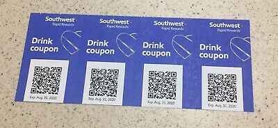 Four (4) Southwest Drink Coupons Expire 8/31/2020