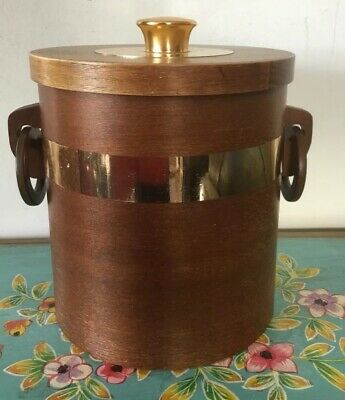 Vintage Retro Wooden Ice Bucket Made In Japan