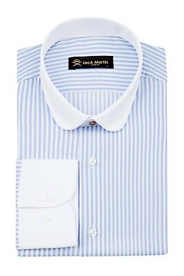 Jack Martin - Peaky Blinders Style - Blue & White Bengal Stripe Sim Fit Shirt