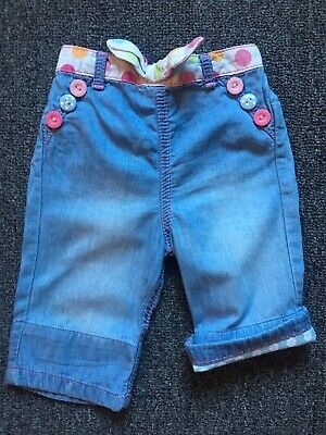 Baby Girls Clothes 6-9 Mths- Denim Look 3/4 Length Trousers 🌈BARGAIN🌈