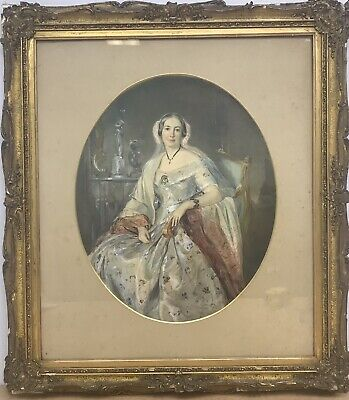 Antique Early 19th century Victorian watercolour painting portrait of a woman