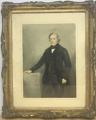Antique Early 19th century Victorian watercolour painting portrait  gentleman