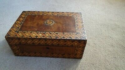 Antique Victorian Tunbridge Ware Work Box Good Colour