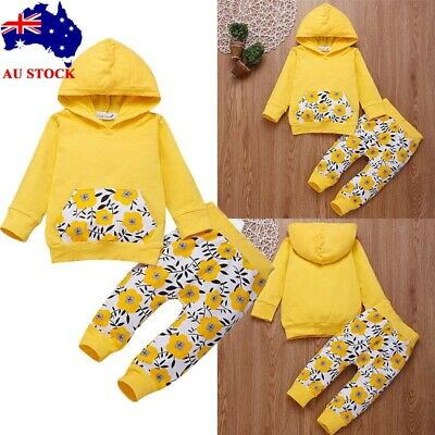 2Pcs Newborn Toddler Kids Baby Girls Floral Hoodie + Long Pants Outfits Clothes