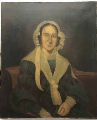 19th Century antique Victorian oil painting on canvas portrait study of a woman