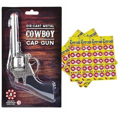 Kids Metal Cowboy Cap Gun Shot Caps Fake Revolver Refil Bullets 8 Shot Discs