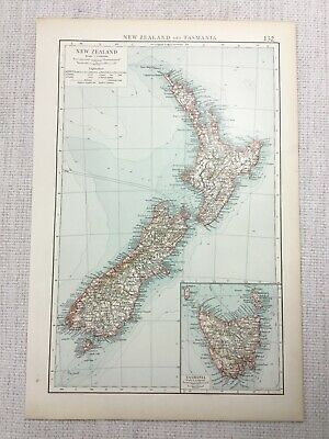 1899 Antique Map of New Zealand Tasmania North South Island 19th Century