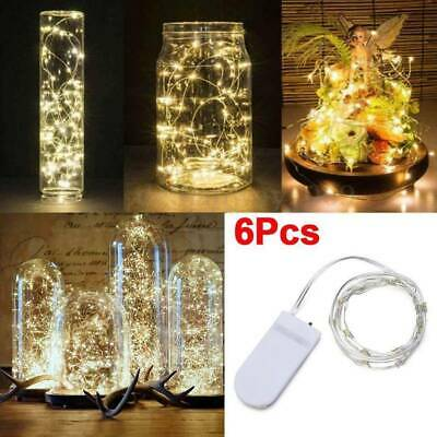 6 Pack 20 LED Battery Micro Rice Wire Copper Fairy String Lights Party Decor 2M