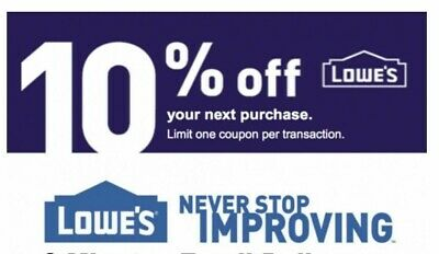 Two 2Coupons 2x Lowes 10% OFF Discount Online/ Instore