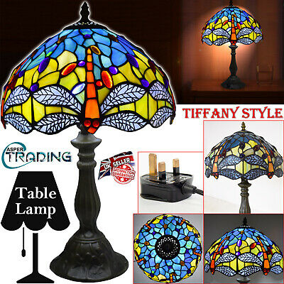 """Tiffany Style Electric Table Lamp Handcrafted Glass Bedside Home Decor 12"""" Shade"""