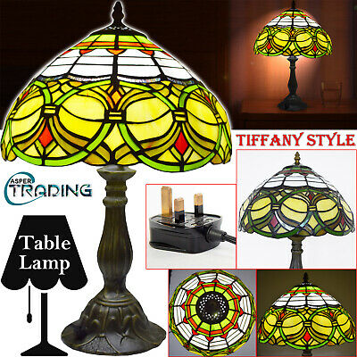 """Antique Style Hand Crafted TIFFANY Style Table Lamp Bedside Home Light 12"""" Shade"""