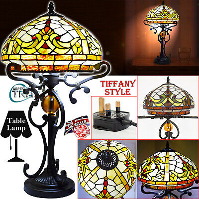 """Stained Tiffany Style Table Lamp Night Light Handcrafted Bedside Home 12"""" Shade"""