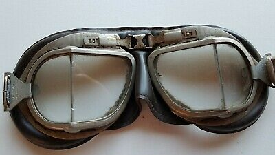 Vintage Melton Motorcycle Motorbike Scooter Helmet Goggles Aviation as Found