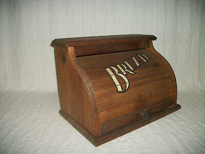 """Vintage Wooden Roll Top BREAD Box. Pine wood. 17""""Wx12""""Hx11""""D. Pre-owned. """"As is"""""""