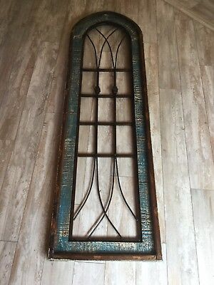 "New Vintage Antique Reclaimed Wooden Wood Cast Iron Window Wall Decor 59.3/4""H"