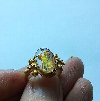 Superb high ct solid gold Roman intaglio ring Amber stone Man perfect condition
