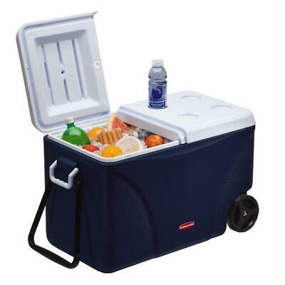 Rubbermaid Wheeled Cooler Ice-Chest Handle Wheels Camping Outdoors 45-qt 11gal