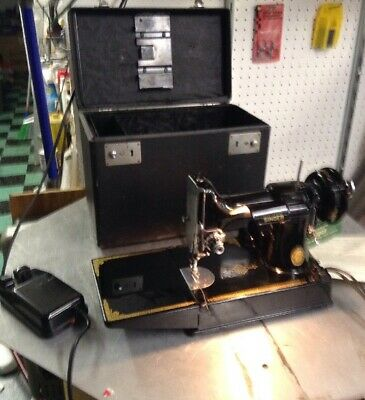 Singer Featherweight 221 Sewing Machine Black With Original Bill Of Sale 1953