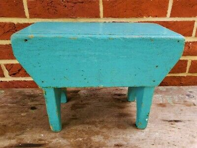 Antique 1900s PA BOOTJACK Legs STOOL Cricket Bench ROBIN'S EGG BLUE PAINT Prim