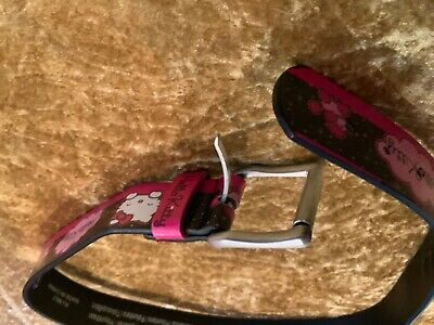 GIRL'S HELLO KITTY DESIGN BELT IN PINK AND BLACK WITH BUCKLE (Worn Once)