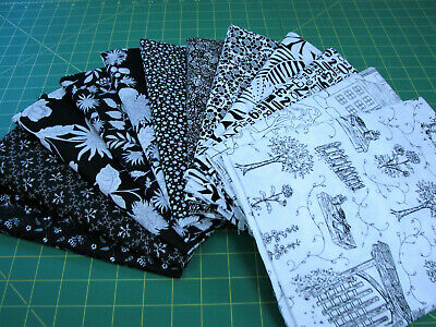 12 Yards Quilt Cotton Fabric - 1 Yard Cuts Black White & Gray Clearance Lot S2