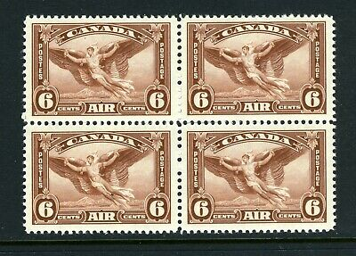 CANADA Scott C5 - LH/NH - BLK of 4 - 6¢ Red Brown Air Mail (.073)