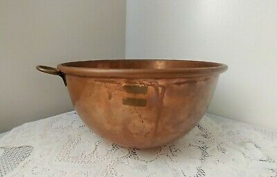 Vintage Heavy Solid Copper FRENCH CHOCOLATE-MERINGUE Mixing Bowl w/Brass Ring