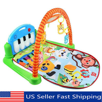 3 In 1 Rainforest Baby Kid Playmat Musical Pedal Piano Activity Fitness Gym  US