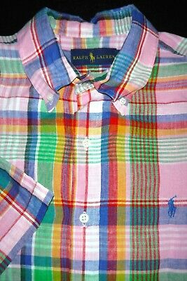 Polo Ralph Lauren -100% Linen- Button Shirt -L- Pink Blue Green Plaid Wild -Pony