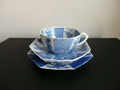 Japanese Blue & White Porcelain Octagonal Trio Cup Saucer Plate