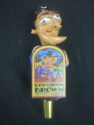 "Lost Coast Brewery Downtown Brown Beer Tap Handle - Eureka California - 8"" tall"
