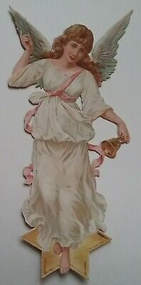 Large Antique Chromo Emboss.Victorian Scrap of a Lovely Angel. Aprox.24x12cms.
