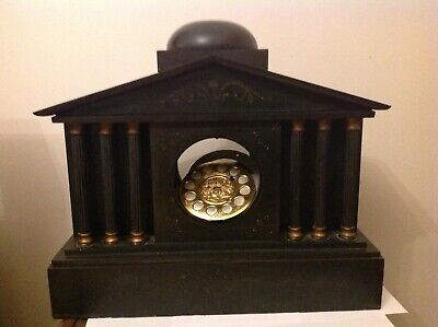 Unusual Large Wooden Antique Mantle Clock - Very Heavy - Spares Or Repair