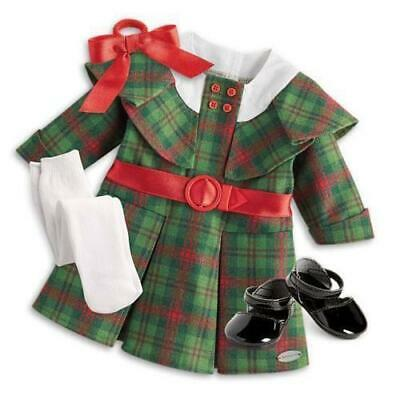 American Girl Kit's Christmas Outfit Holiday Plaid Dress Bow NIB BeForever