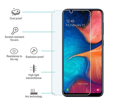 5-Pack Premium Tempered Glass Screen Protector For Samsung Galaxy A20 A30 A50