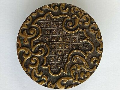 Antique large PARIS BACK pressed brass button AP &Cie SOLIDAIRE