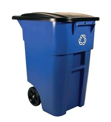 Rubbermaid Commercial Brute Recycling Rollout Container Bin Square 50gal Blue.
