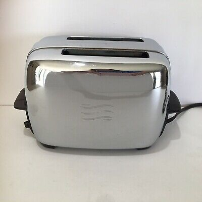 Vtg GE General Electric Chrome Bakelite Working Two Slice Toaster MCM