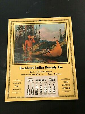1937 Original Blackhawk Indian Remedy Co. Calendar Mint Quack? Medicine