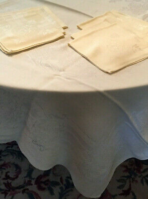 Vintage tablecloth soft linen blend cream 50x69 with six matching cloth napkins