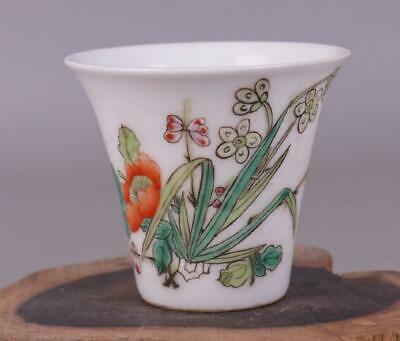 chinese old porcelain hand-painted pastel orchid pattern cup 08300