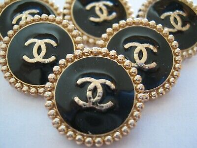 💋💋💋💋💋 Chanel  buttons  set of 6 sz 24mm lot of 6 BLACK GOLD CC