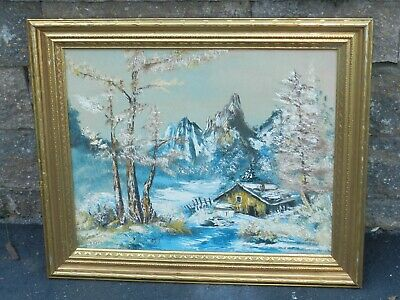 Vtg Mcm Oil Painting On Canvas Signed Impressionism Blue Winter Mountain Cabin