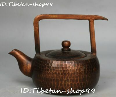 Old China Copper Dynasty Portable Wine Teapot Flagon Kettle Flask Pot Statue