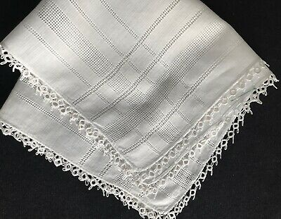 Old Vintage White Hand Made Tatting Lace Trim Primitive Bridal Handkerchief 11""