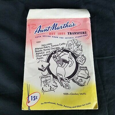 Vintage Aunt Martha's Cowboy Motifs Hot Iron Transfers Patterns 9259 Embroidery